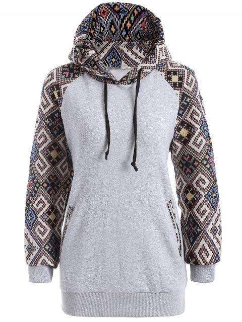Jacquard sudadera con capucha con cordón - Gris XL Mobile