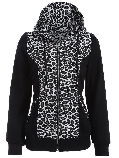 Chandail à capuche Zip Leopard - Blanc et Noir M Mobile