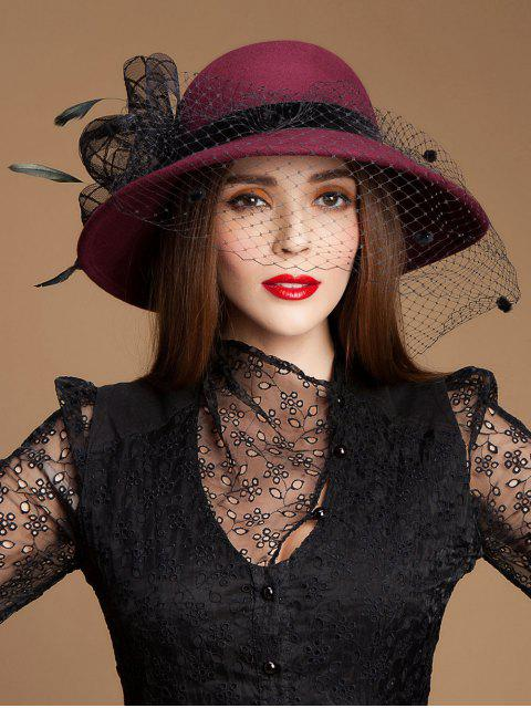 shops Wool Felt Floral Sombrero Bowler Fedora - WINE RED  Mobile