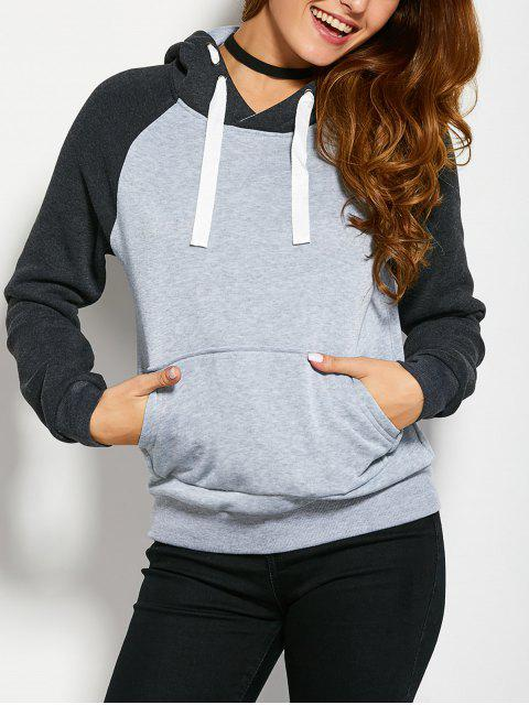 fancy Color Block Hoodie with Front Pocket - LIGHT GREY M Mobile
