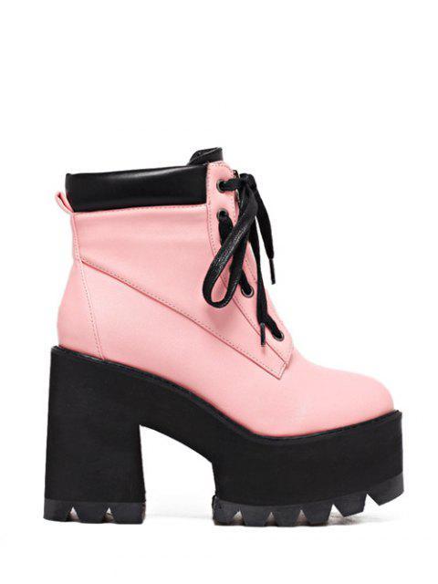 online Platform Chunky Heel Combat Boots -   Mobile