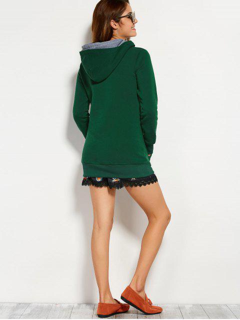 women Drawstring Double Hooded Sweatshirt - BLACKISH GREEN S Mobile