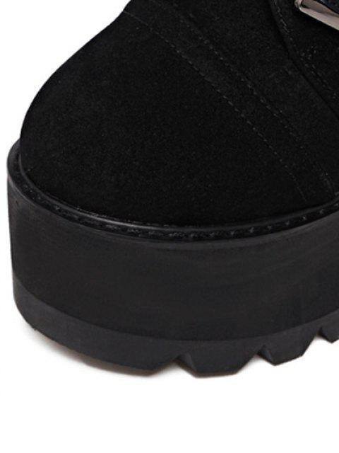 fashion Platform Triple Buckles Chunky Heel Boots -   Mobile