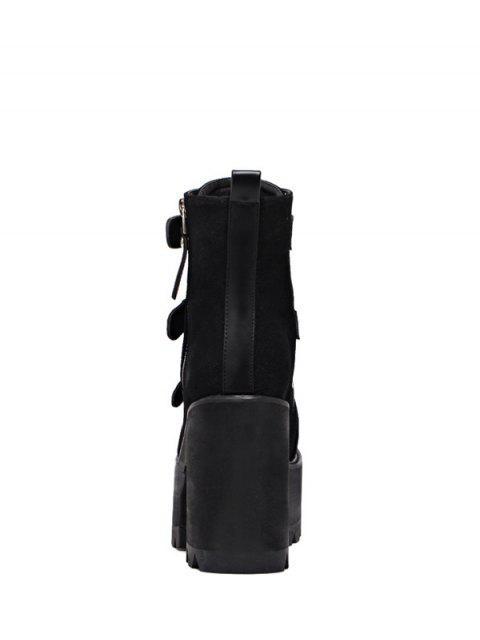 Bottes triple boucles à talon carré et plate-forme - Noir 39 Mobile