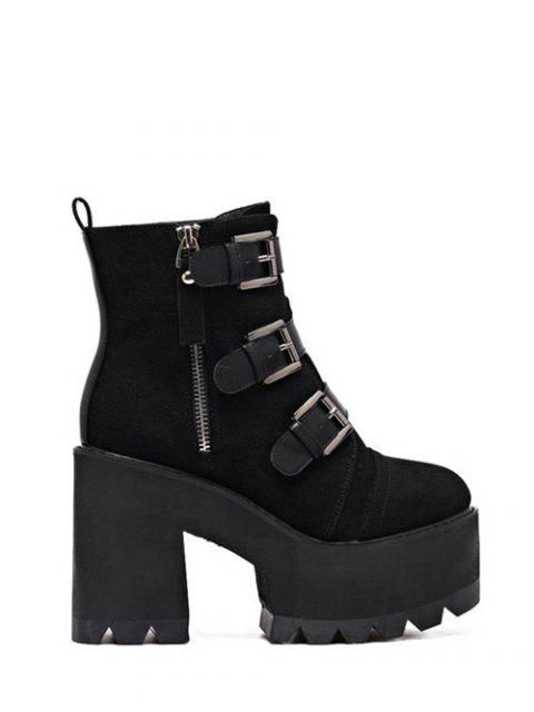 chic Platform Triple Buckles Chunky Heel Boots -   Mobile