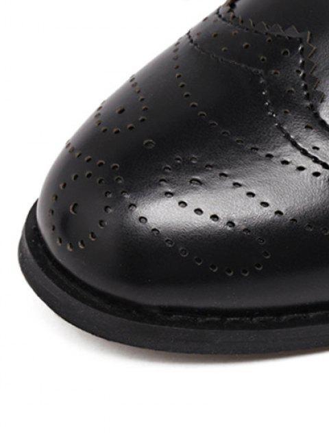 unique Engraving Rivet PU Leather Short Boots - BLACK 39 Mobile