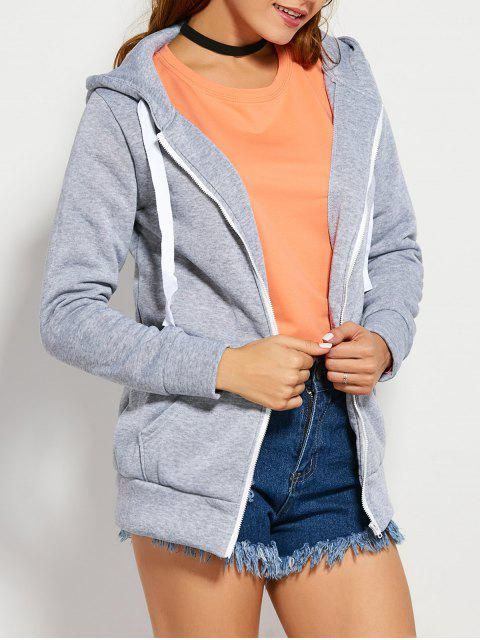 trendy Drawstring Zip Up Hoodie with Pocket - LIGHT GRAY S Mobile