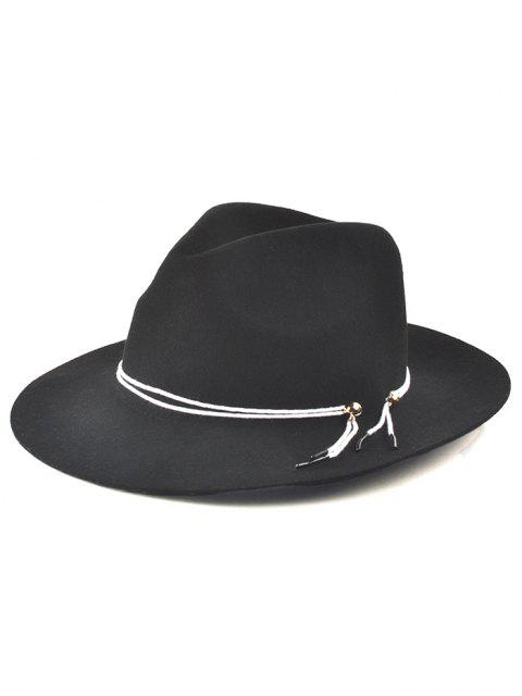 outfits Winter Big Brimmed Drawstring Fedora Hat - BLACK  Mobile