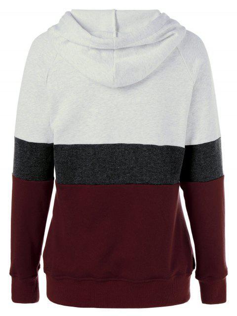 fashion Color Block Drawstring Plus Size Hoodie - COLORMIX 3XL Mobile