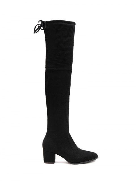 hot Pointed Toe Chunky Heel Thigh Boots - BLACK 39 Mobile