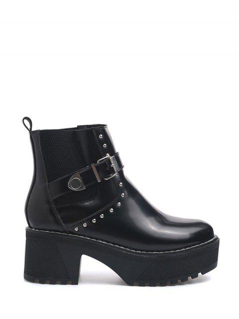 fashion Rivet Buckle Strap Platform Boots - BLACK 37 Mobile
