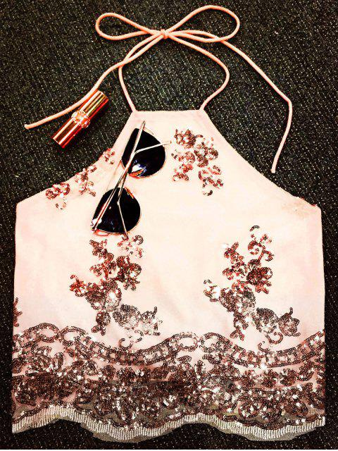 women Lace Up Sequins Backless Crop Top - NUDE S Mobile