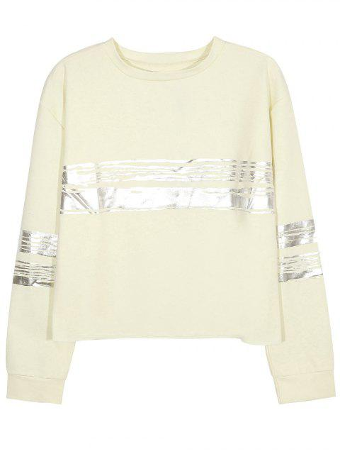 fashion Metallic Stripe Crew Neck Sweatshirt - BEIGE 2XL Mobile