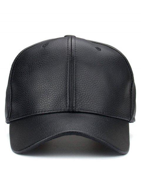 Casquette de base-ball parasol en cuir PU pour l'extérieur - Noir  Mobile