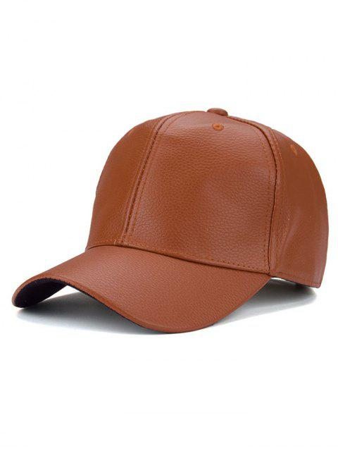 shops Outdoor Sunshade PU Leather Baseball Hat - ORANGE YELLOW  Mobile