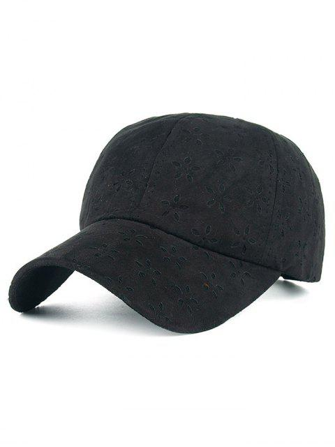 trendy Adjustable Floral Velvet Baseball Hat - BLACK  Mobile