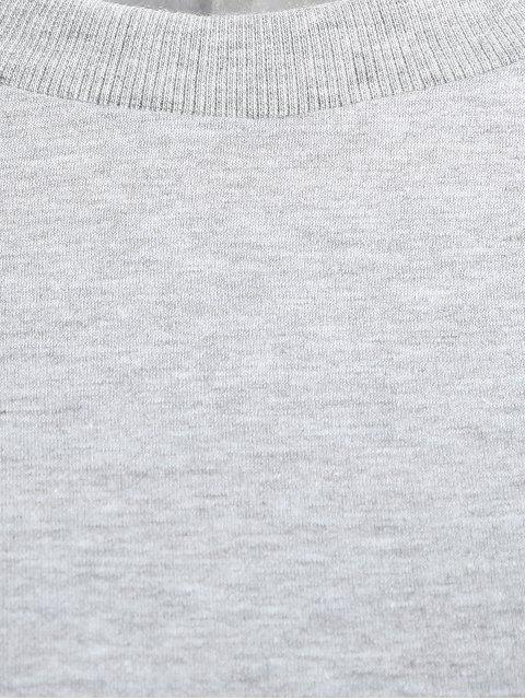 Sweatshirt brodé chat à col plat - Gris Léger S Mobile