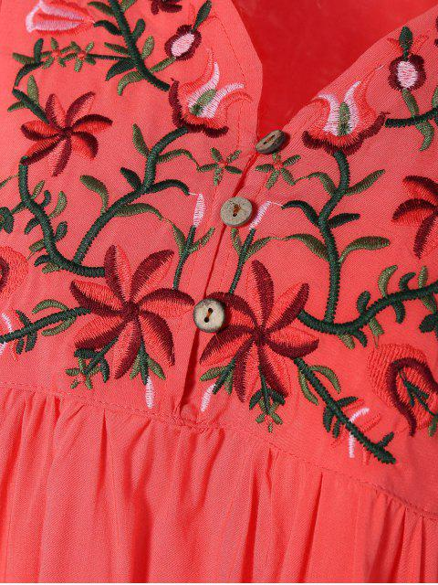 Robe tunique style casual avec broderies florales - Pastèque Rouge TAILLE MOYENNE Mobile