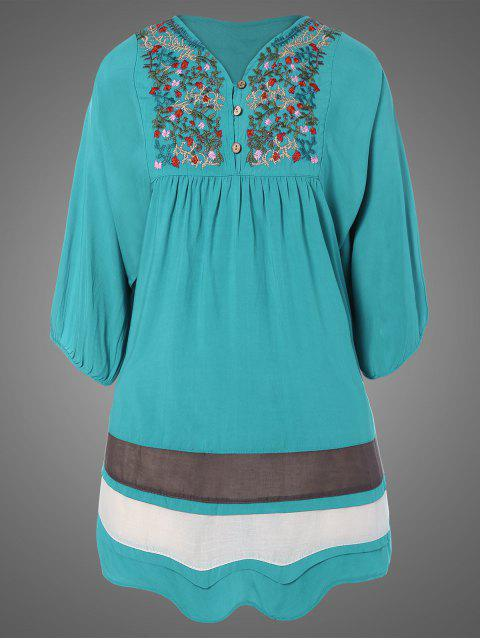 buy Plus Size Embroidered Bib Tunic Dress - LAKE BLUE ONE SIZE Mobile