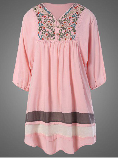 womens Plus Size Embroidered Bib Tunic Dress - PINK ONE SIZE Mobile