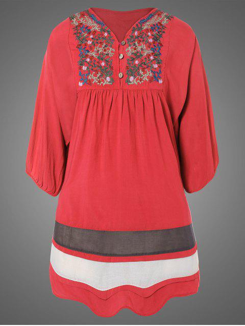 women's Plus Size Embroidered Bib Tunic Dress - WATERMELON RED ONE SIZE Mobile