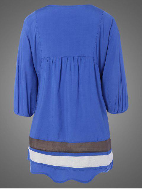 Robe tunique brodée de bavoir ,grande taille - Denim Bleu TAILLE MOYENNE Mobile