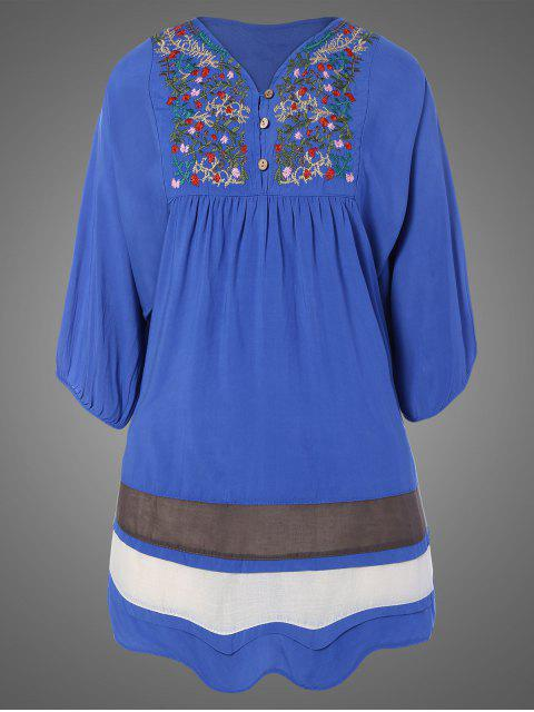 lady Plus Size Embroidered Bib Tunic Dress - DENIM BLUE ONE SIZE Mobile