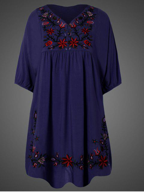 online Embroidered Floral Bib Tunic Dress - PURPLISH BLUE ONE SIZE Mobile