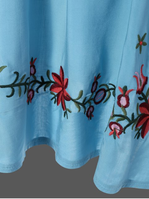 hot Embroidered Floral Bib Tunic Dress - LIGHT BLUE ONE SIZE Mobile