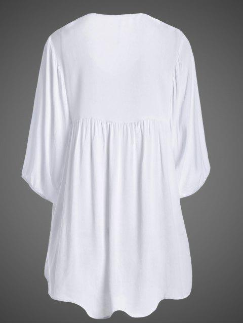 latest Embroidered Floral Bib Tunic Dress - WHITE ONE SIZE Mobile