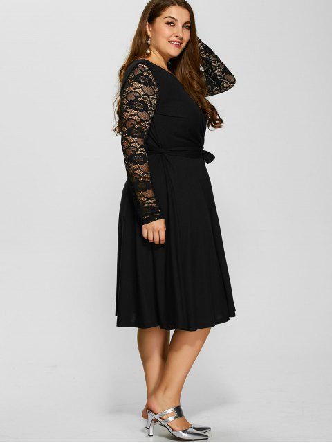 chic Lace Sleeve Surplice Plus Size Dress - BLACK XL Mobile