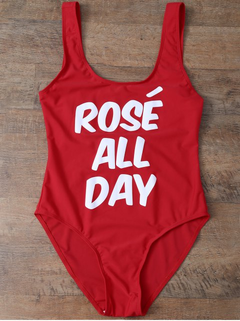Bañador con Texto de ROSÉ ALL DAY - Rojo L Mobile