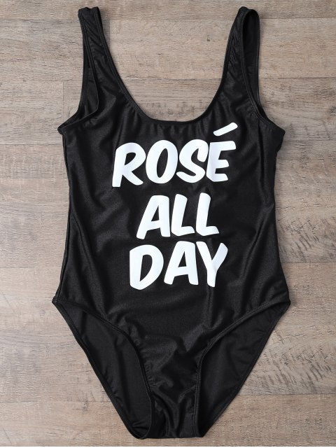 Bañador con Texto de ROSÉ ALL DAY - Negro L Mobile