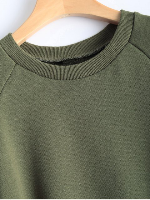 shop Ripped Sleeve Cropped Sweatshirt - ARMY GREEN M Mobile