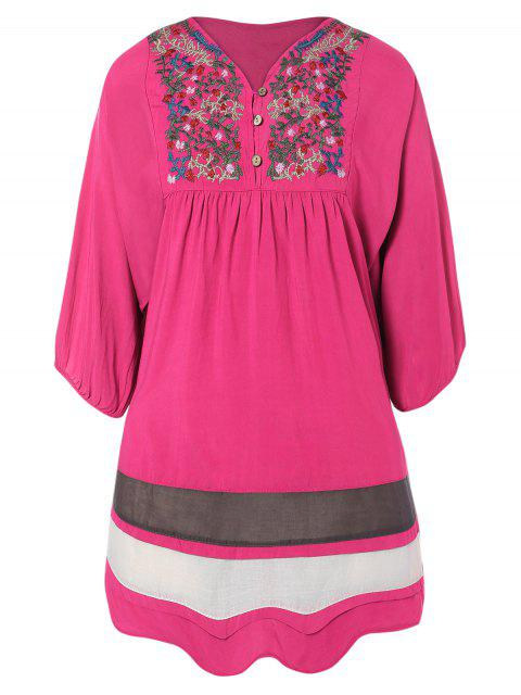 women Embroidered Bib Tunic Dress - ROSE RED ONE SIZE Mobile
