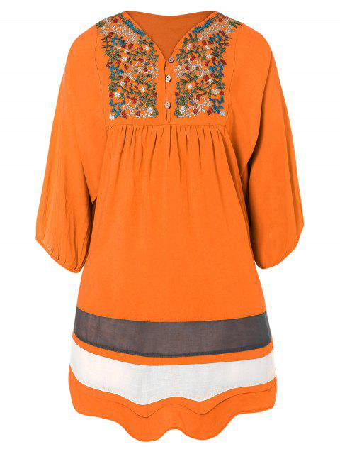 best Embroidered Bib Tunic Dress - ORANGE RED ONE SIZE Mobile