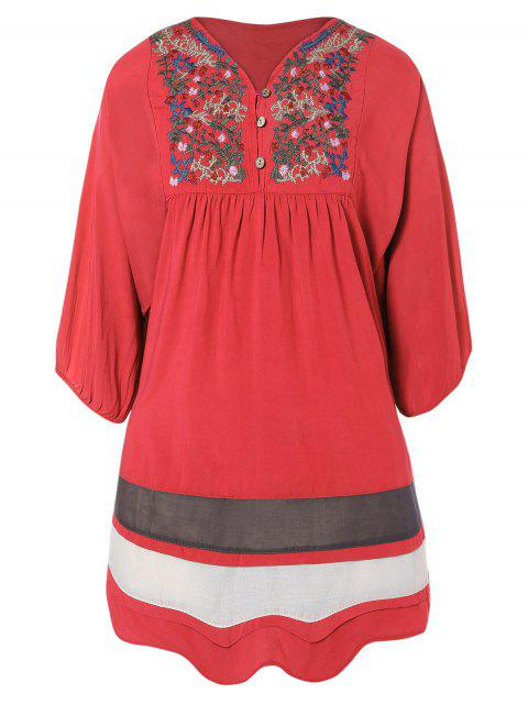 online Embroidered Bib Tunic Dress - WATERMELON RED ONE SIZE Mobile