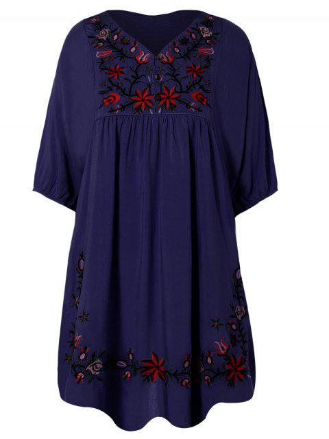 buy Floral Embroidered Bib Tunic Dress - PURPLISH BLUE ONE SIZE Mobile