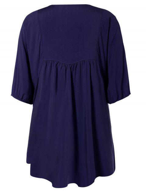 buy Floral Embroidered Bib Tunic Dress - PURPLISH BLUE ONE SIZE Mobile