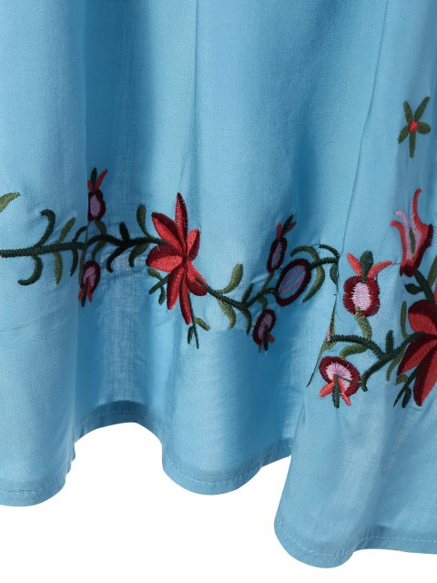 women's Floral Embroidered Bib Tunic Dress - LIGHT BLUE ONE SIZE Mobile
