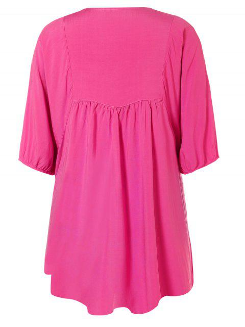 Robe tunique style casual avec broderies florales - rose TAILLE MOYENNE Mobile