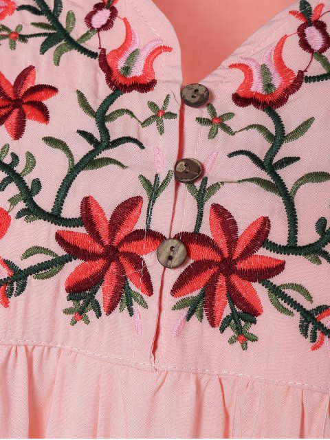 sale Floral Embroidered Bib Tunic Dress - PINK ONE SIZE Mobile