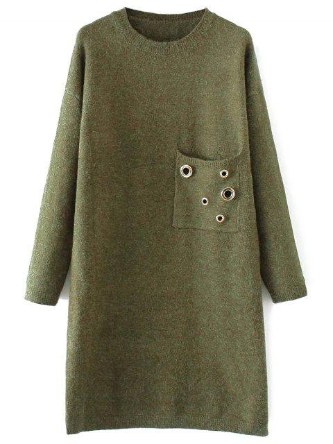 Jewel Neck Pocket Sweater Dress - Vert TAILLE MOYENNE Mobile