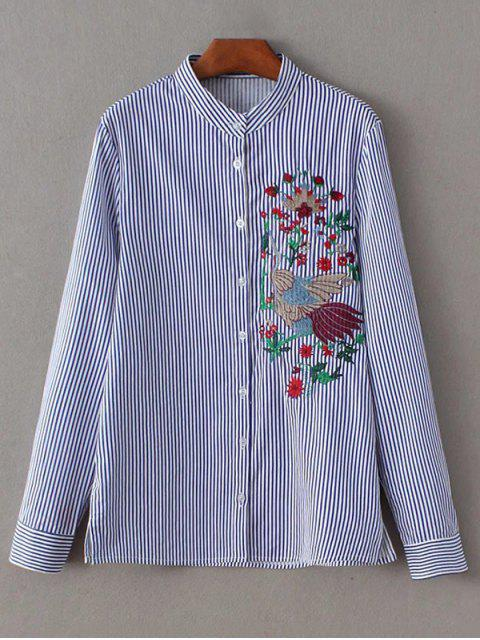 trendy Striped Peacock Embroidered Shirt - STRIPE L Mobile