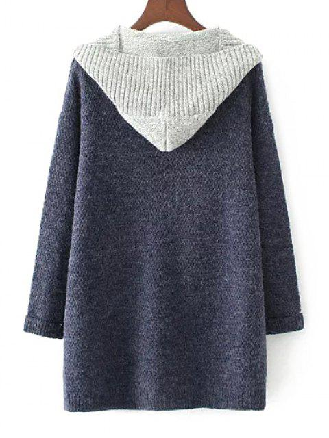 latest Hooded Faux Twinset Cardigan - PURPLISH BLUE M Mobile