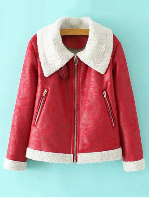 women's Faux Leather Faux Shearling Jacket - RED M Mobile