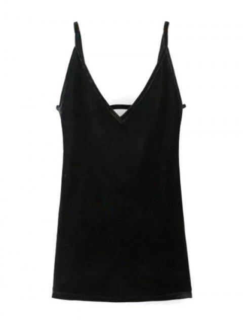 buy Plunging Neck Pleuche Cami Dress - BLACK S Mobile