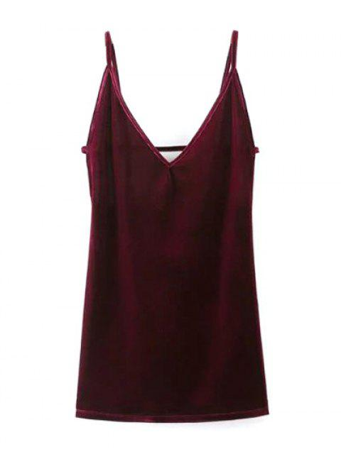 women's Plunging Neck Pleuche Cami Dress - BURGUNDY S Mobile