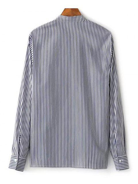 women's Striped Stand Collar Peacock Embroidered Shirt - STRIPE M Mobile