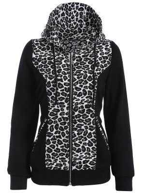 Zip Up Leopard Panel Hoodie - White And Black M